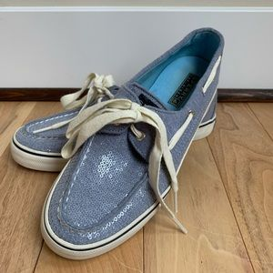 Blue Sparkly Sperry Shoes